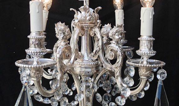 (Français) Pièce exceptionnelle chez Argenterie d'Antan : Lustre en bronze argenté Napoléon III
